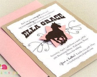 Rustic Cowgirl Invitations · A2 LAYERED · Pink and Brown · Birthday Party   Country Western   Horse Party   Cowgirl Chic