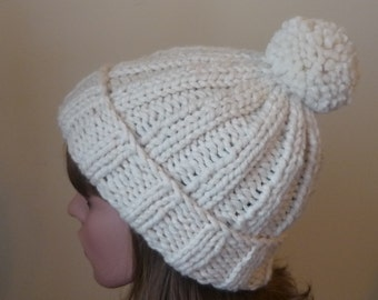 Chunky Knit Hat with Pompom and Rolled Brim Warm Wool Blend Winter Hat in Fisherman - Ready to Ship - Gift for Her