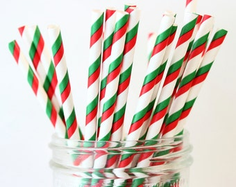 Christmas Straws, Paper Straws, Red & Green Straws, Mason Jar Straws, Stripe Straws, Christmas Wedding, Baby Shower, Birthday Party Decor