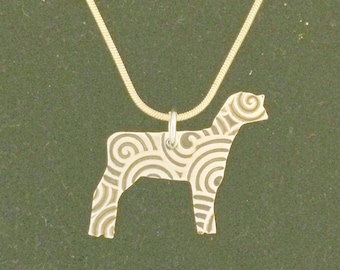 Sheep Necklace Pendant Cut out of Brass with Scroll Pattern Show Lamb comes on 18 inch Gold Plated Snake Chain 4H and FFA Livestock Jewelry