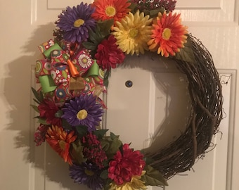 Colorful Gerber Daisy Grapevine Wreath