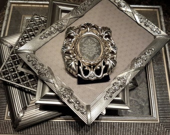 SILVER Shabby chic picture frames Set of Six Pewter picture frame