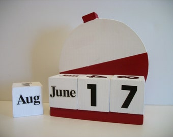 Fishing Bobber Calendar Perpetual Wood Block Red White Bobber Fishing Theme Decor Fathers Day Gift