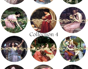 Waterhouse magnets, pins or flatback cabochons, one inch or 2.25 inch available, 5 ct or 12 ct, Set 4