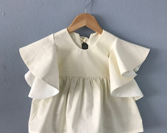 Ready to Ship, Molybdite Girls Tunic, Cream Tunic, Ruffle Top, Girls Cream Top, Toddler Top, Cotton, Girls Short Sleeve, Kid Top, 6 months