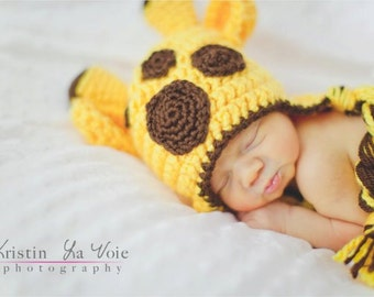 Crochet Giraffe Beanie, newborn giragge hat, newborn giraffe beanie, newborn giraffe, newborn photo prop, knit giraffe hat