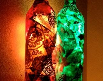 NEW Wine Bottle Light, Wine Bottle Lamp, Decoupage Wine Bottle with Lights, Decoupage on Lamp, Lokta Paper