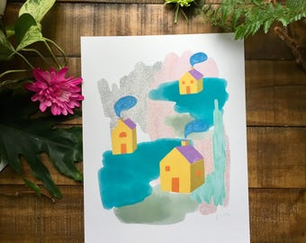 Abstract art print, yellow house, red door, drawing,  watercolor painting, illustrated,  archival,  design