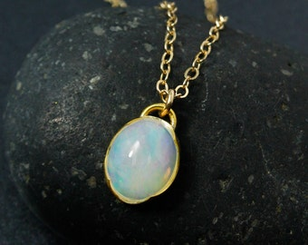 Oval Solid Opal Necklace, Milky Opal Necklace, Choose Your Setting