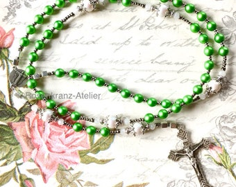 Rosary Resurrexit  vintage french medal and cross catholic rosary beads Christ is Risen by Rosenkranz-Atelier  prayer beads catholic jewelry