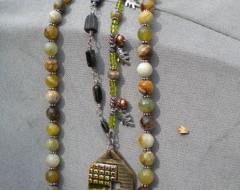 The Long Goodbye, Earthenwood Ceramic and Gemstone Necklace