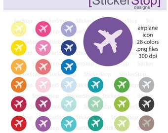 Airplane Icon Clipart 28 colors, PNG Digital Clipart - Instant download - plane, aeroplane, jet, travel, vacation