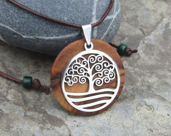Necklace olive wood Tree of Life leather brown stainless steel wooden alentejoazul talisman hippy boho natural jewelry portuguese portugal