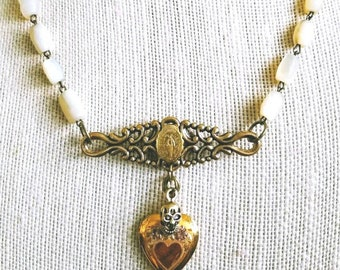 Vintage religious  assemblage necklace, vintage mother of pearl rosary, vintage brooch, vintage goldfilled locket, handmade, gifts for her.