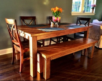 Farmhouse Dining Room Table W/Matching Bench