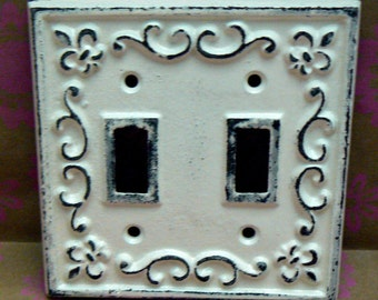Fleur de lis Cast Iron FDL Light Switch Plate Cover Double Wall Shabby Elegance Distressed Rustic French Decor Creamy Off White ( Ecru)