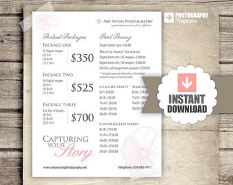 Photography Price List - Pricing List for Photographers - Print Pricing - Portrait Packages - INSTANT DOWNLOAD - Photography Marketing Form