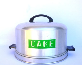 Vintage Cake Carrier/ Upcycled Aluminum