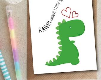 Dinosaur Birthday Card, Cute, I Love You, Girlfriend, Boyfriend