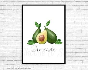 Avocado Printable Art, Instant Download, Farmhouse Decor, Printable Wall Art, 5x7 print, 8x10 print, Kitchen Art, Farmhouse Printable