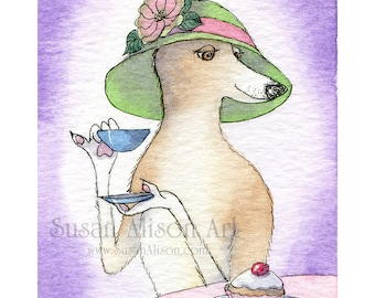 Whippet greyhound dog print 5x7 8x10 11x14 lurcher drinking afternoon tea wearing hat eating cake extended little pinkie finger Susan Alison