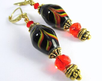 Red Black and Gold India Lampwork Glass Earrings on 14k Gold Fill Leverbacks