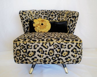 Kroehler, swivel, accent chair, slipper chair, barrel, Upholstered, MCM, Hollywood Glam, lounge chair, animal print, gold, black, couture