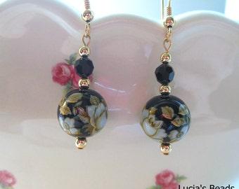 NEW Gorgeous  Antique White Roses on Black Japanese Tensha Bead Earrings