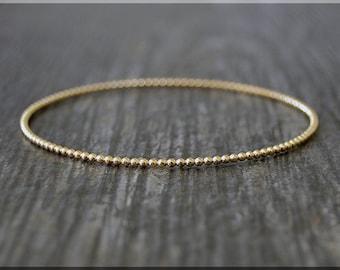 14k Gold Filled Beaded Bangle, Dotted Gold Filled Bangle Bracelet, Dottie Bangle, Gold Stacking Bracelet, Simple Layering Bangle, Bauble
