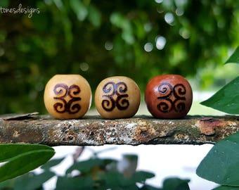 Strength Wood-Burned Loc Bead (Dwennimmen Adinkra Symbol Round Wooden Dread Beads/Loc Jewelry)
