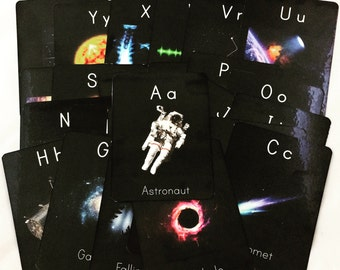 Space alphabet cards, space themed nursery decor