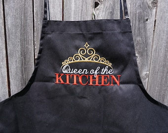 Personalized Adult Apron, Adult apron, personalized apron, Womens apron, personalized, apron, Queen, Gold, personalized gift, womens gift
