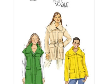Sz 6/8/10/12/14 Vogue Jacket Pattern V8794 - Misses' Jacket and Belt in Three Variations - Very Easy Vogue