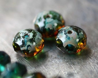 sale .. CABO .. 10 Picasso Czech Glass Rondelle Beads 6x8mm (2261-10)