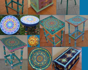 Made to Order. SOLD. This is an example. Hand painted furniture, boho style. Painted Furniture