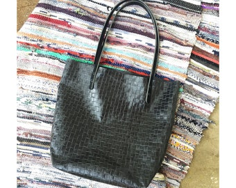 LIMITED EDITION Slate Blue Leather Large Tote • Woven Embossed