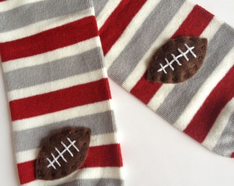 Football Baby Leg Warmers: maroon, silver grey and white stripes with footballs - Snack Size Leg Candy
