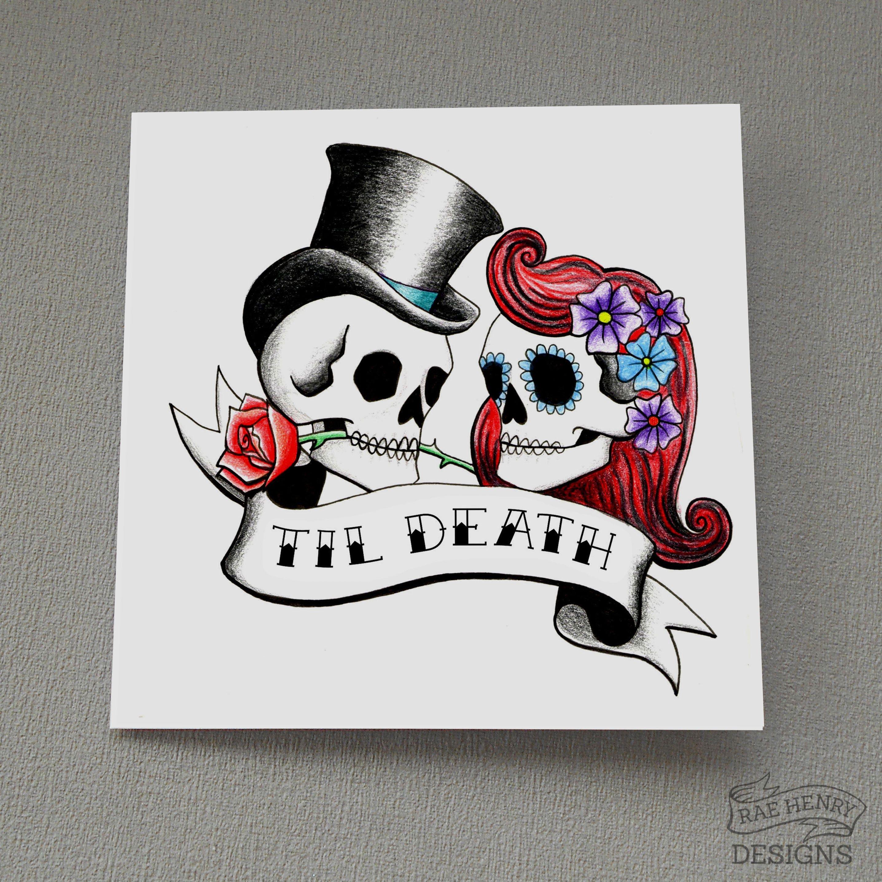Til Death Skulls Wedding Card Anniversary Card Tattoo
