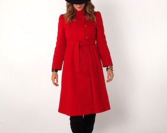 1970s Vintage Red Military Style Asymmetrical Winter Fitted Puff Sleeve Belted Wool Coat XS S