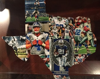 Handmade Wooden Texas Shaped Team Collage.