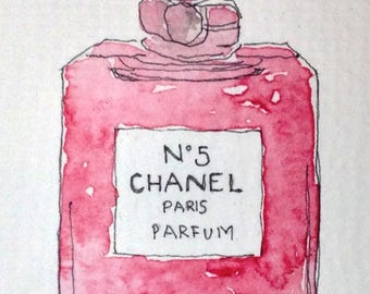 ACEO Small Original Watercolour Illustration Chanel No 5 Perfume Signed By Helen Fox