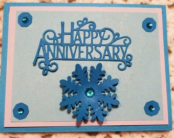 Happy Anniversary Handmade Greeting Card, Turquoise with Flower Greeting Card, Made in the USA, #310