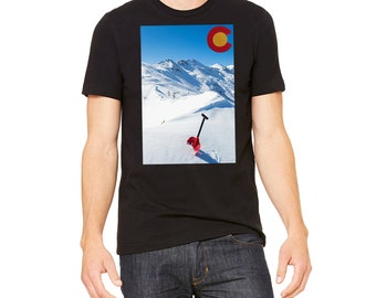 Men's Snowboard Snow Shovel T-Shirt Colorado T Rocky Mountains Winter Snow Ski Back Country Snowboarder Gift for Skier Gift for Snowboarder