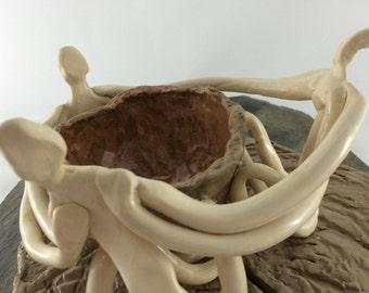 CREATIVE FIRE - Sculpture, Hand Built - Orange Fire Bowl -  Reclaimed White & Brown Stoneware - Susan Ellebruch, Artist - Whirlwind Pottery