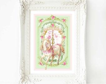 "Carousel horse, nursery print, romantic, vintage, white horse, A4, 8"" x 10"" giclee"