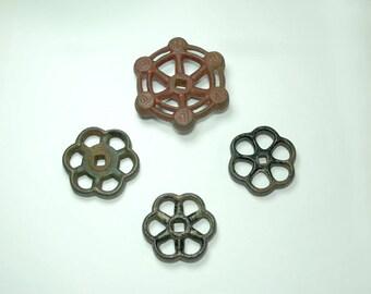 Vintage Faucet Knobs Cast Iron Metal Handles Spigot Valve Handles Set of Four
