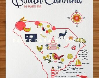 South Carolina State Letterpress Print 8x10