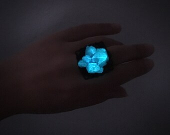 Aqua Blue Glow in the Dark Resin Ring - Adjustable