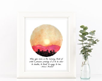 Inspirational Quote Wall Art Watercolor Print Sunrise Art Mountain Print Nature Prints - Bedroom Wall Decor Inspiring Quotes Red Home Decor