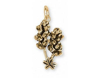 Bluebonnet Charm Jewelry 14k Gold Handmade Texas Wildflower Charm FL4-CG
